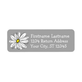 灰色および黄色の粋なデイジー 返信用宛名ラベル