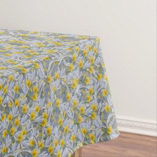 灰色および黄色の花および蹄鉄 テーブルクロス