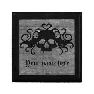 灰色および黒いゴシックfanged吸血鬼のスカル ギフトボックス