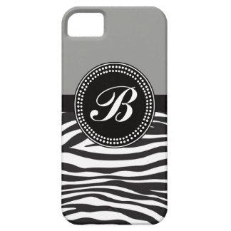 灰色および黒いシマウマのプリントのモノグラムBのiPhoneの箱 iPhone SE/5/5s ケース