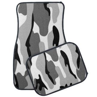 灰色および黒のカムフラージュのカーマット カーマット