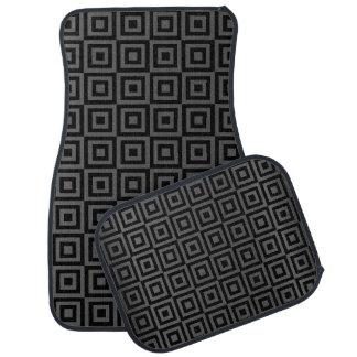 灰色および黒の抽象的な正方形パターン カーマット
