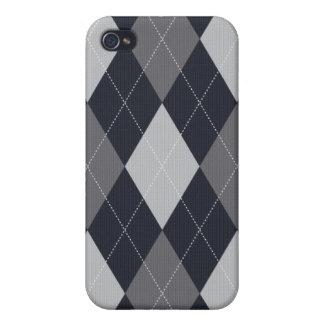 灰色および黒はスタイルのアーガイル柄のなIphoneの箱を編みました iPhone 4/4Sケース