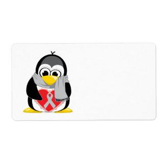 灰色か銀製のリボンのペンギンのスカーフ ラベル