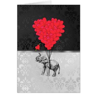 灰色のかわいい象および愛ハート カード