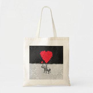 灰色のかわいい象および愛ハート トートバッグ