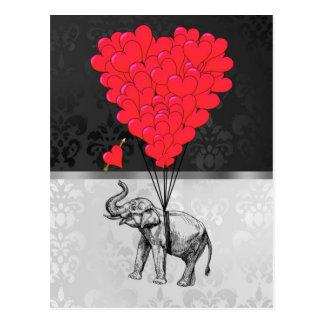 灰色のかわいい象および愛ハート ポストカード