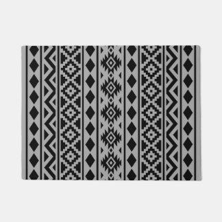 灰色のアステカな本質(v)パターンIII黒 ドアマット