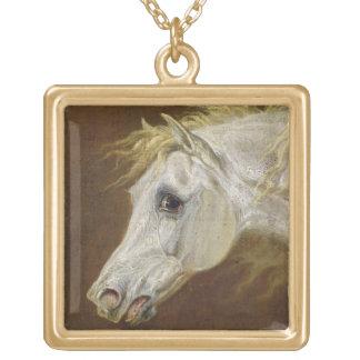 灰色のアラビアの馬(鍋の頭部のキャンバスの油 ゴールドプレートネックレス