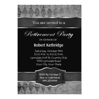 灰色のアーガイル柄のでクラシックな退職のパーティの招待状 カード