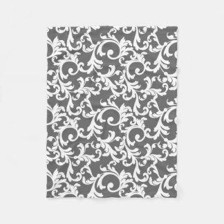 灰色のエレガントなダマスク織のプリント フリースブランケット