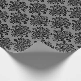 灰色のエレガントなパターンの黒いダマスク織 ラッピングペーパー