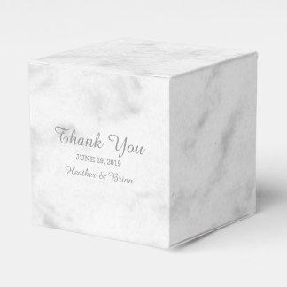 灰色のエレガントな大理石の結婚式 フェイバーボックス