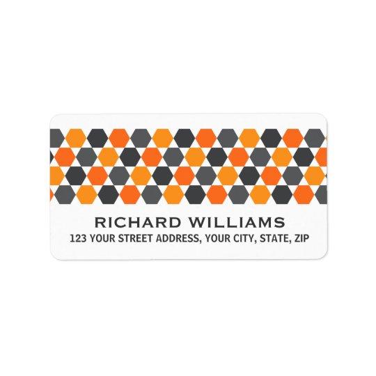 灰色のオレンジ六角形のボーダー差出人住所 ラベル