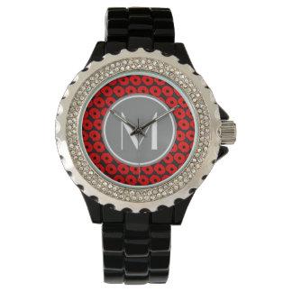 灰色のカスタムなモノグラムが付いている大きく赤いケシパターン 腕時計