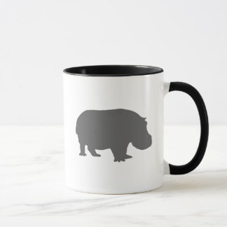 灰色のカバのシルエット マグカップ