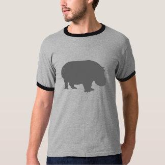 灰色のカバのシルエット Tシャツ