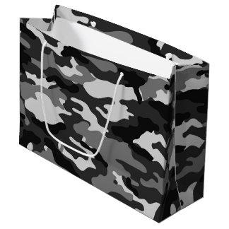 灰色のカムフラージュの大きいギフトバッグ ラージペーパーバッグ