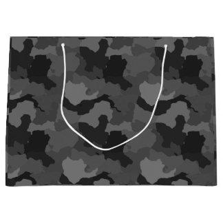 灰色のカムフラージュまたは軍隊またはハンターの迷彩柄のギフトバッグ ラージペーパーバッグ
