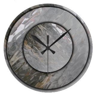 灰色のガラス効果の柱時計 ラージ壁時計