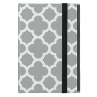 灰色のクローバーの格子垣パターン iPad MINI ケース