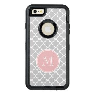 灰色のクローバーパターン、ピンクのモノグラム オッターボックスディフェンダーiPhoneケース
