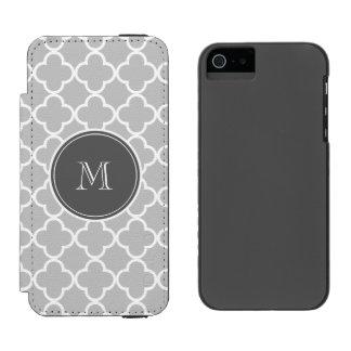 灰色のクローバーパターン、木炭モノグラム iPhone SE/5/5sウォレットケース