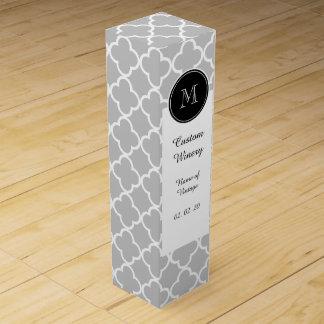 灰色のクローバーパターン、黒いモノグラム ワインギフトボックス