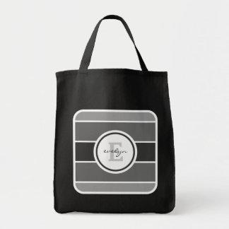 灰色のグラデーションなモノグラム トートバッグ