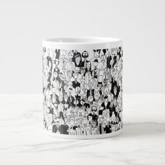 灰色のコーヒー・マグの群集 ジャンボコーヒーマグカップ