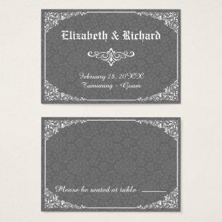 灰色のゴシック様式ビクトリアンなダマスク織の結婚式の座席表 名刺