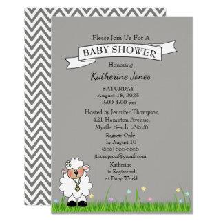 灰色のシェブロンの小さい子ヒツジのベビーシャワーの招待状 カード