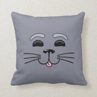 灰色のシール-かわいい漫画の枕 クッション