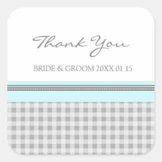 灰色のスカイブルーのギンガムは結婚式の引き出物のラベル感謝していしています スクエアシール