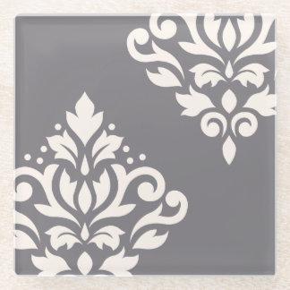 灰色のスクロールダマスク織の芸術Iのクリーム ガラスコースター