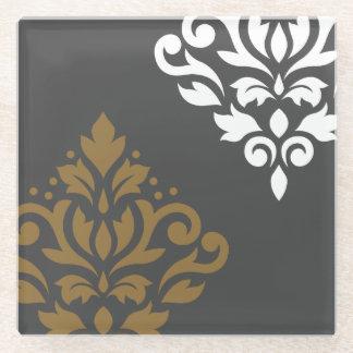 灰色のスクロールダマスク織の芸術Iの金ゴールド及び白 ガラスコースター