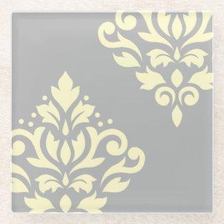 灰色のスクロールダマスク織の芸術Iの黄色 ガラスコースター