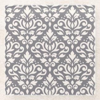 灰色のスクロールダマスク織パターンクリーム ガラスコースター
