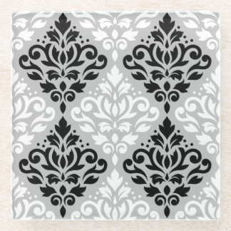 灰色のスクロールダマスク織Ptn B&W ガラスコースター