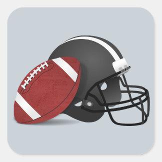 灰色のステッカーのフットボールそしてヘルメット 正方形シール