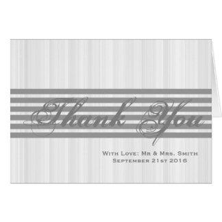 灰色のストライプのサンキューカードとの白いミニマル グリーティングカード