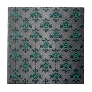 灰色のターコイズのビクトリアンなダマスク織パターン タイル