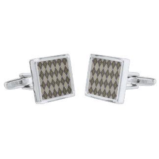 灰色のダイヤモンドのタータンチェックのカフスボタン 銀色 カフリンク