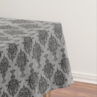 灰色のダマスク織のゴシック様式黒 テーブルクロス