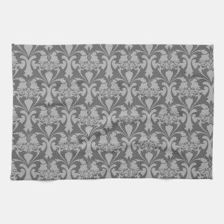 灰色のダマスク織の台所タオル キッチンタオル