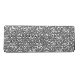 灰色のダマスク織の無線電信のキーボード ワイヤレスキーボード