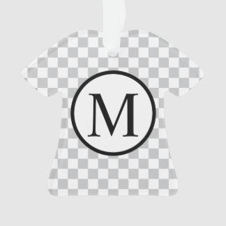 灰色のチェッカーボードが付いているシンプルなモノグラム オーナメント