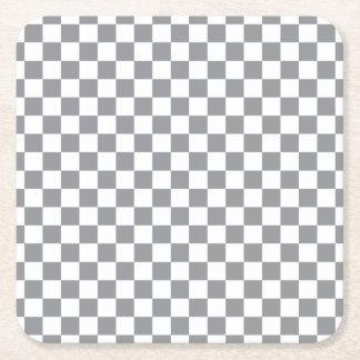 灰色のチェッカーボード スクエアペーパーコースター