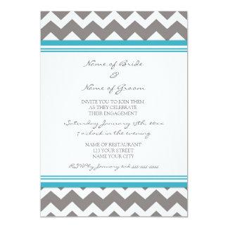 灰色のティール(緑がかった色)のシェブロンの婚約パーティの招待状 12.7 X 17.8 インビテーションカード