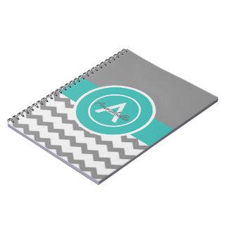 灰色のティール(緑がかった色)シェブロン ノートブック